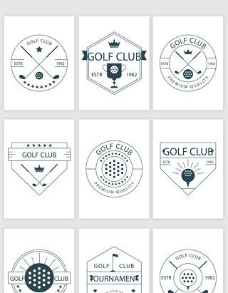 线描高尔夫图标矢量素材