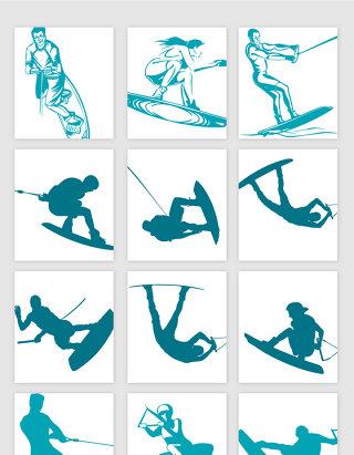 体育运动滑雪冲浪矢量素材