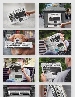 报纸报刊阅读场景智能贴图样机素材