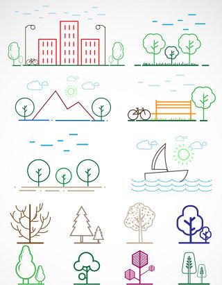 线条城市树木矢量图标图形