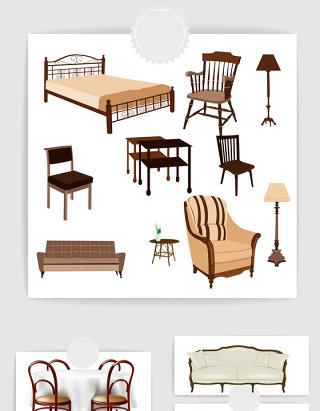 矢量家具沙发床素材
