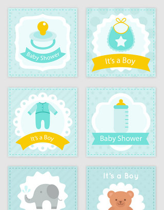 可爱卡通婴儿卡片素材