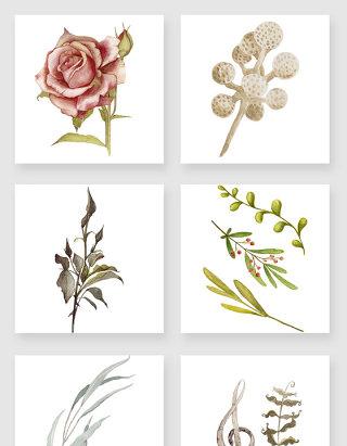复古风格植物装饰素材