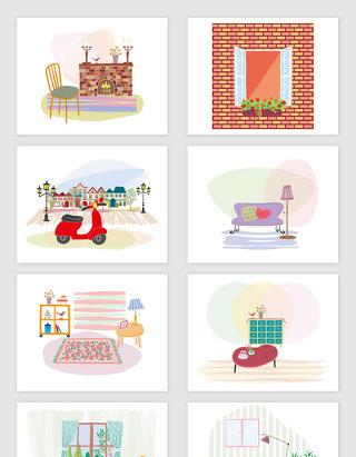 8款矢量手绘卡通城市风景室内插图