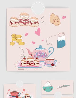 矢量手绘卡通下午茶甜品