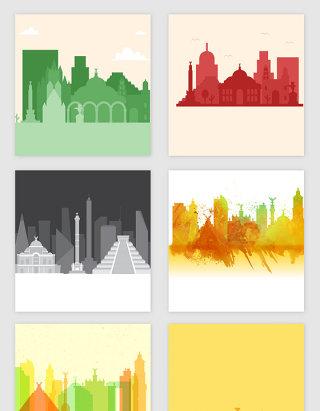 彩色抽象城市剪影矢量素材