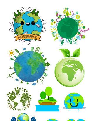 绿色生态地球矢量素材