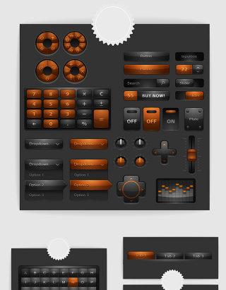 矢量黑色棕色网页按钮键盘素材
