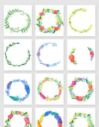 水彩精美花环透明素材合集