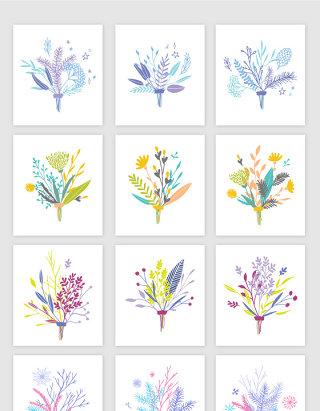 矢量蓝色手绘装饰花卉植物