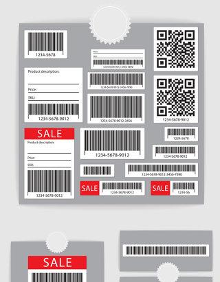 矢量促销商品条形码二维码