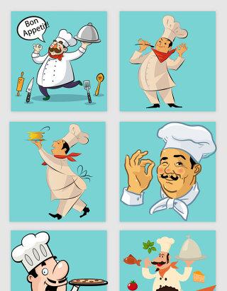 卡通手绘厨师与美食的素材
