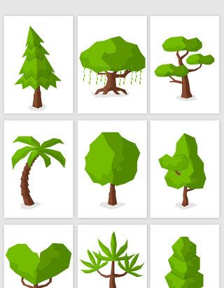 卡通微立体树木矢量素材