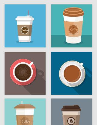 手绘咖啡杯的矢量素材