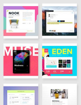 时尚配色设计网站界面ui素材