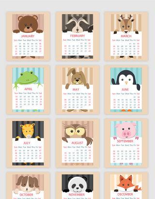 2018动物日历矢量素材