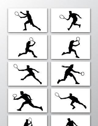 10款矢量网球运动剪影