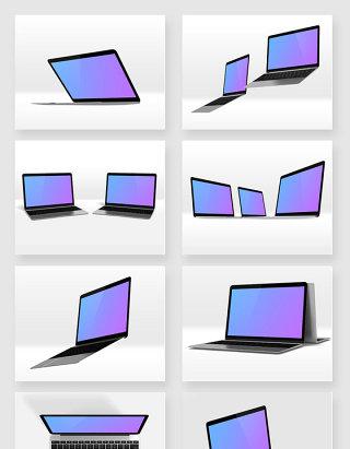 八宫格苹果笔记本电脑不同展示模型样机