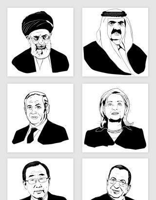 手绘素描国家领导人人物头像插画矢量图形