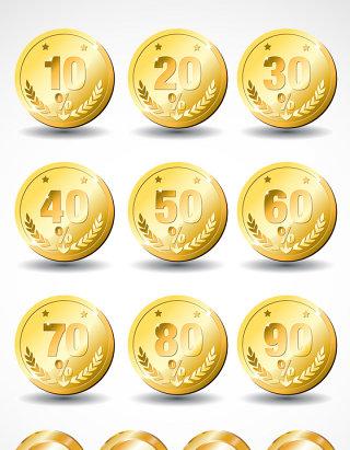数字金币矢量图标图形