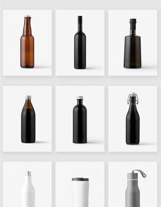 酒水瓶水杯空白样机贴图模板素材
