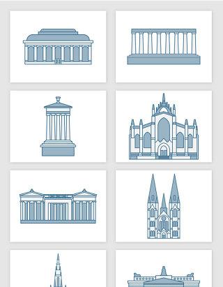 国外学院教育建筑插画矢量图形
