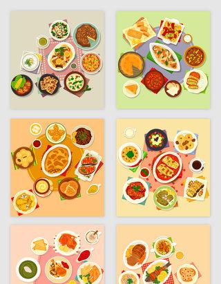 卡通风格餐饮行业餐桌美食矢量元素