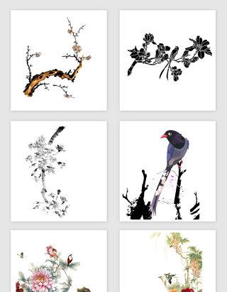 中国国画花鸟PNG免抠素材