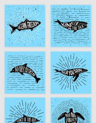 矢量手绘复古黑色鱼海豚鲸鱼海龟插图