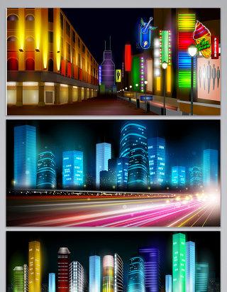 矢量城市夜景背景