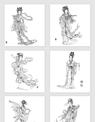 手绘线描古典美女PNG免抠素材