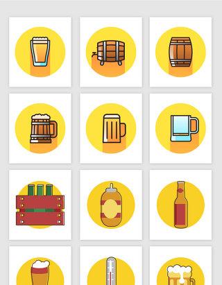 矢量可爱卡通酒吧啤酒