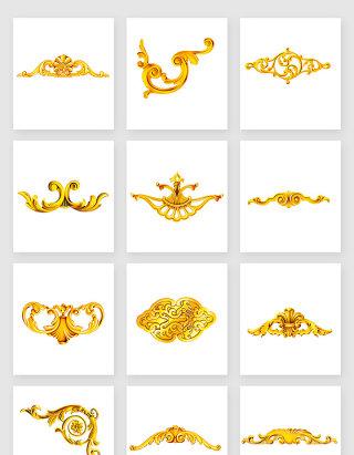 高清免抠黄金金色欧式装饰花纹