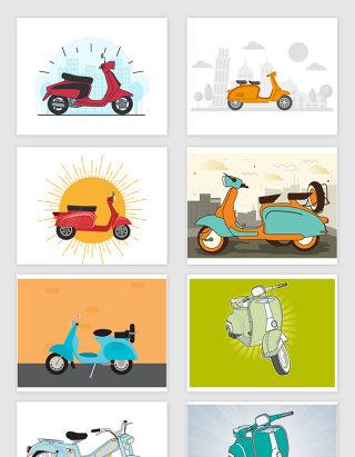 矢量手绘摩托车助动车插图