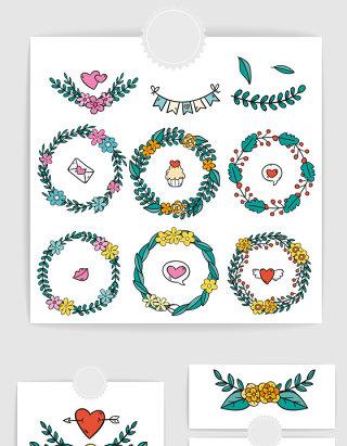 矢量手绘卡通情人节花卉植物边框