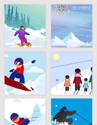冬季奥运会滑雪矢量素材