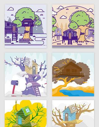 手绘卡通树屋的矢量素材