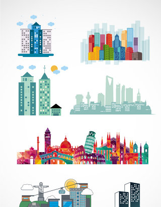 几何城市名胜建筑素材