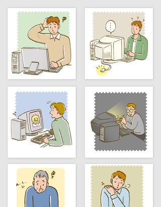 矢量卡通电脑操作插画