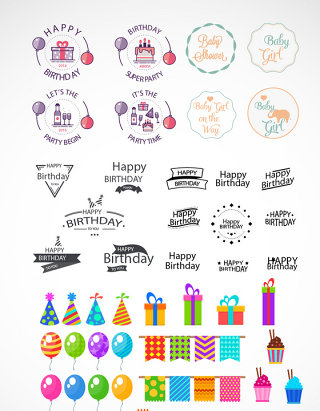 生日快乐字体元素