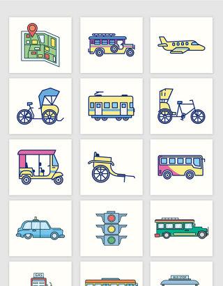 矢量手绘卡通城市交通工具