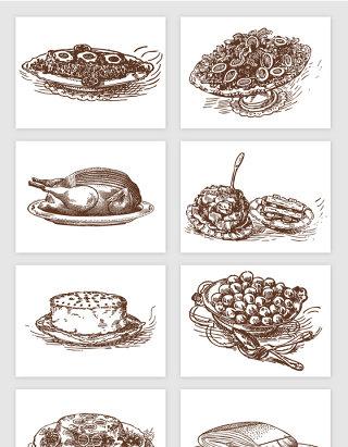 鸡腿鱼肉水果手绘素描食物矢量图形