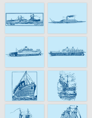 手绘船只矢量素材