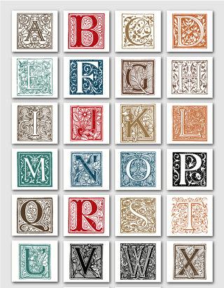 复古花边花框大写字母矢量图形
