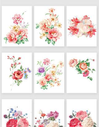 唯美浪漫彩绘花卉矢量素材