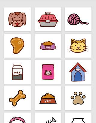矢量卡通宠物猫咪宠物狗元素