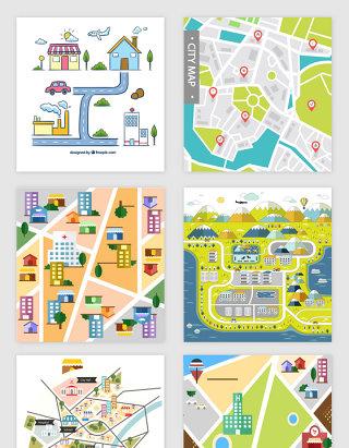 城市交通路线矢量图标志素材