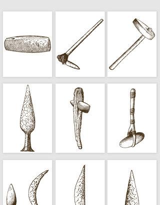 手绘素描石墨古老工具象牙人类祖先工具矢量