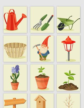 卡通风格植树节相关植物道具矢量元素