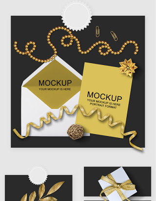 金色时尚信封邀请卡贴图样机素材